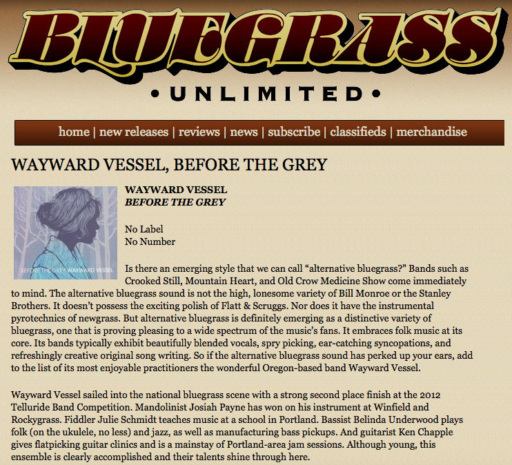 Wayward Vessel In 2013 Bluegrass Unlimited