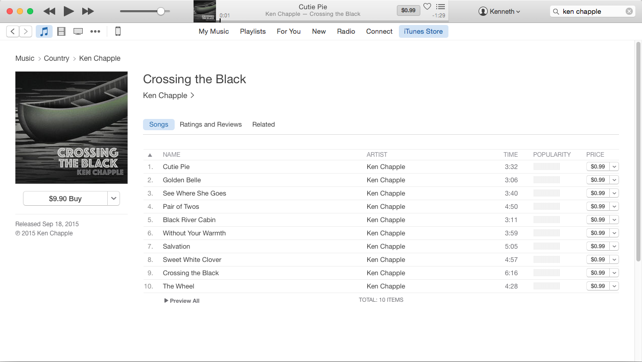 Crossing The Back ITunes