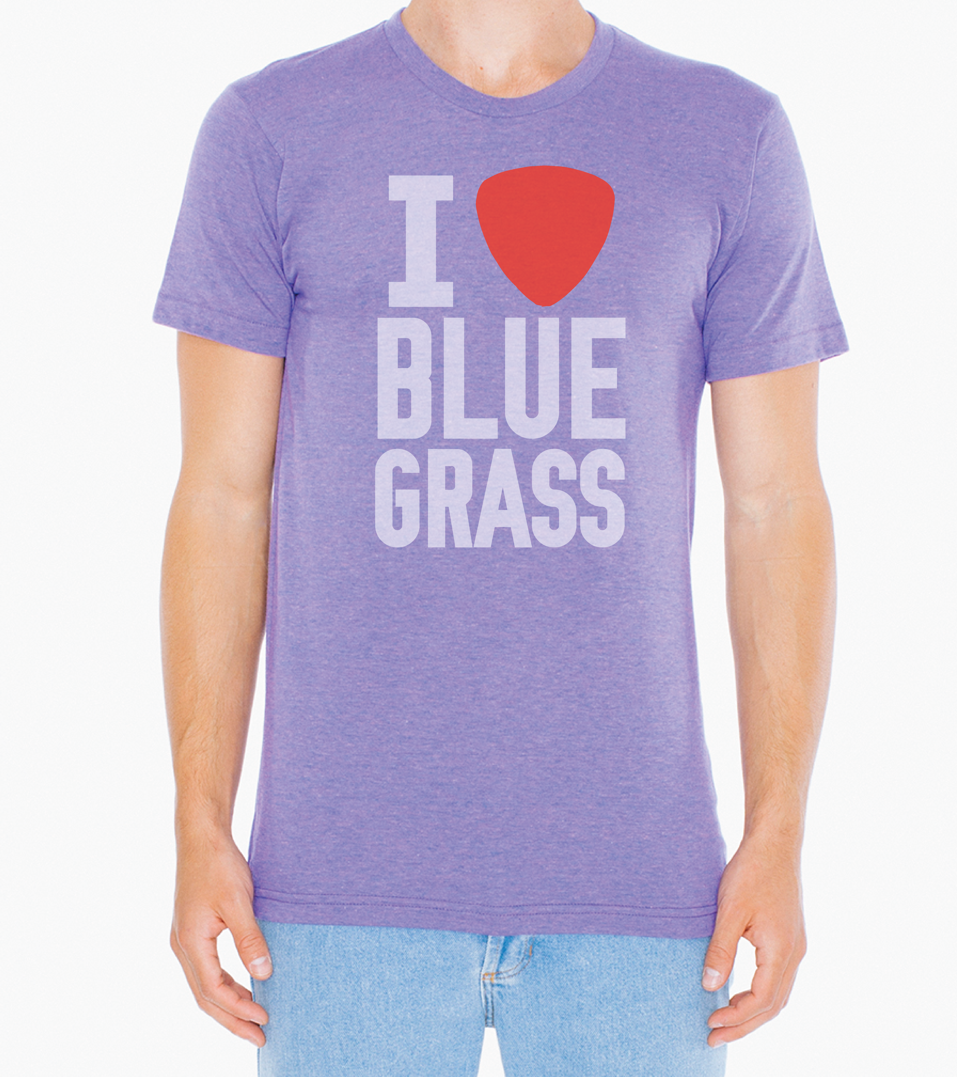 I Pick Bluegrass Tee. T-shirt Is Light Blue With Screen-printed Artwork.